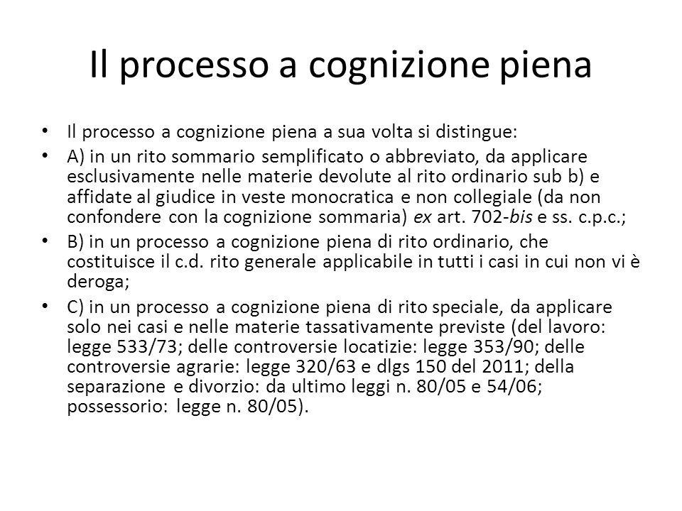 Il processo a cognizione piena
