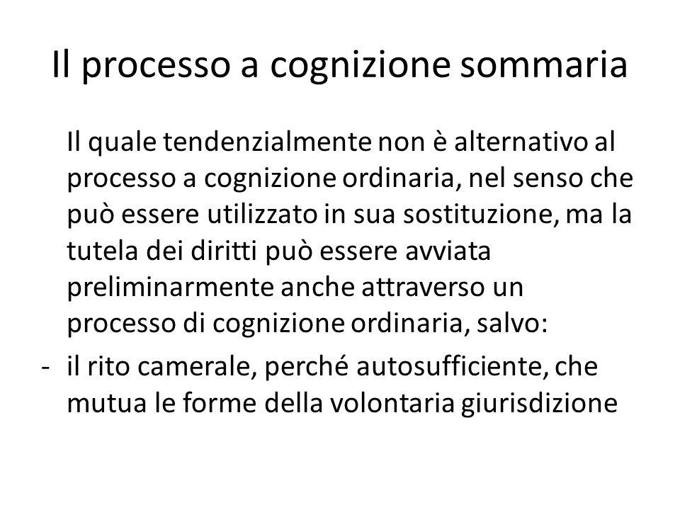 Il processo a cognizione sommaria