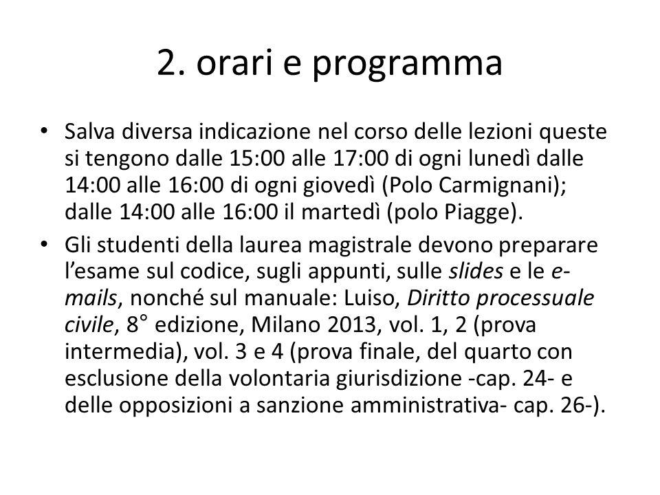 2. orari e programma