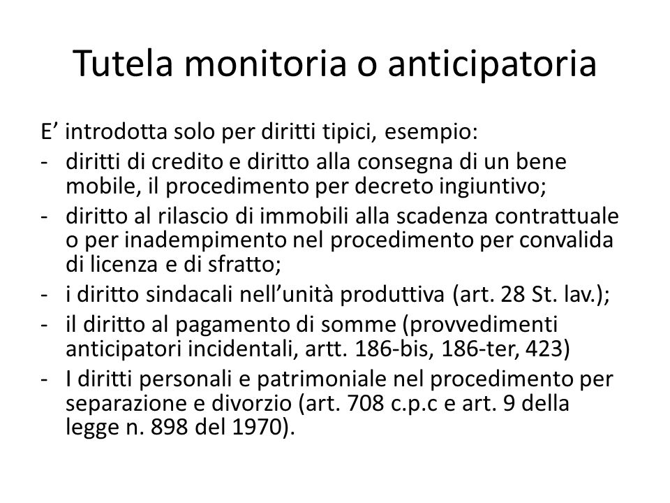 Tutela monitoria o anticipatoria