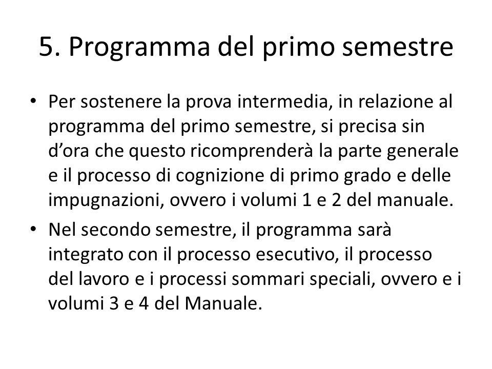 5. Programma del primo semestre