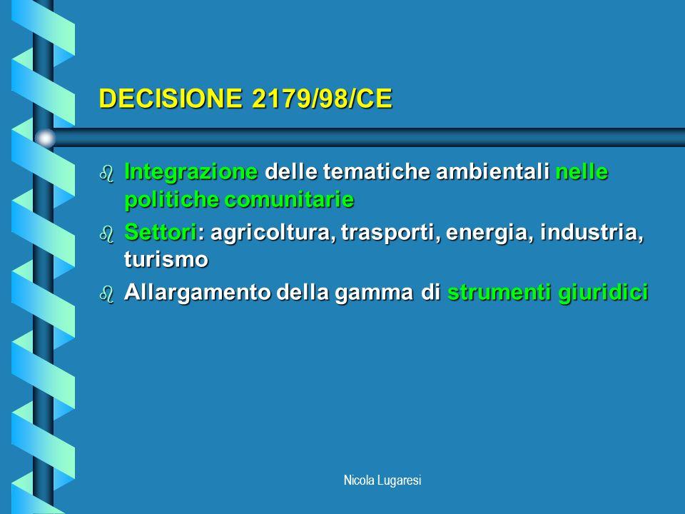 DECISIONE 2179/98/CE Integrazione delle tematiche ambientali nelle politiche comunitarie.