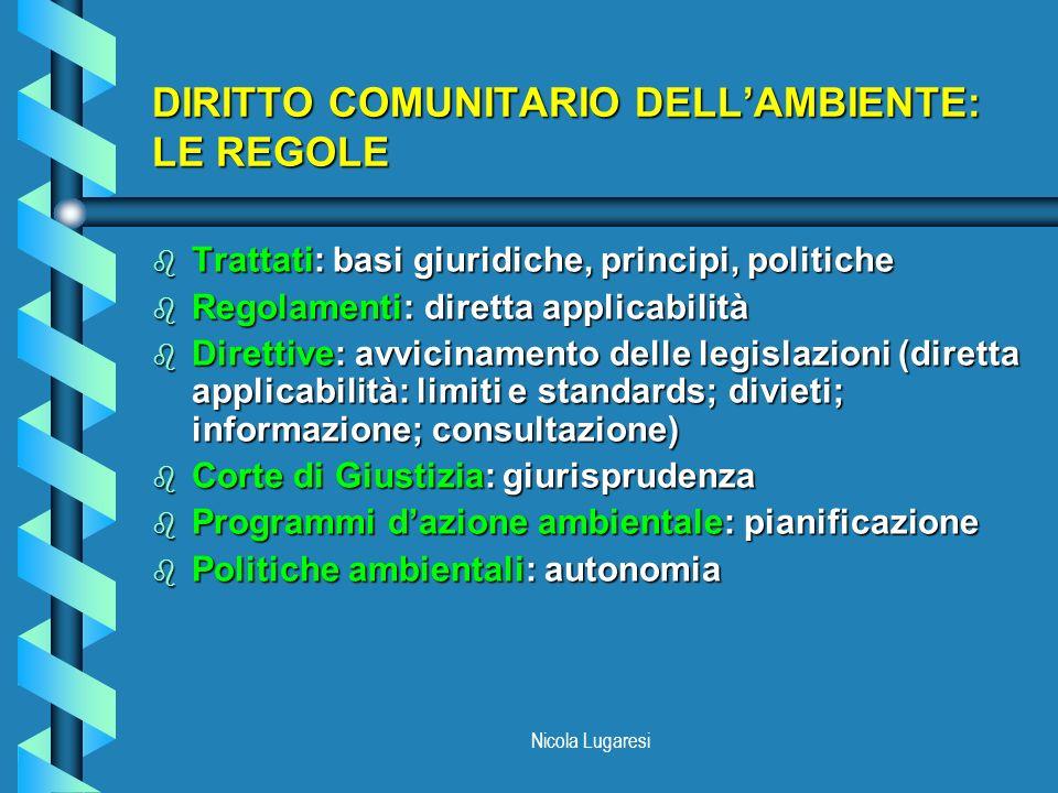 DIRITTO COMUNITARIO DELL'AMBIENTE: LE REGOLE