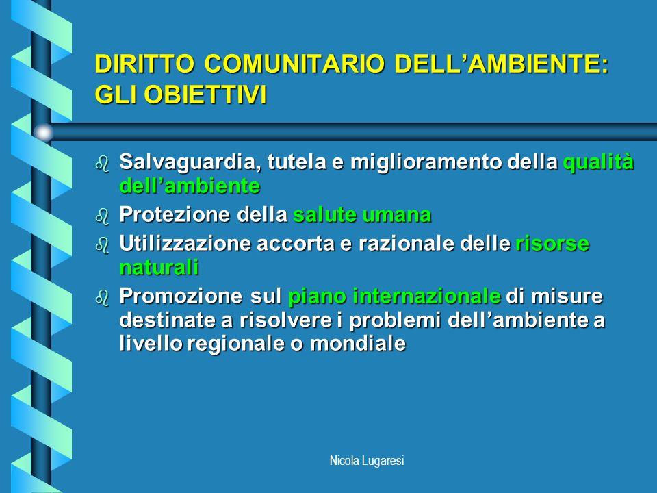 DIRITTO COMUNITARIO DELL'AMBIENTE: GLI OBIETTIVI