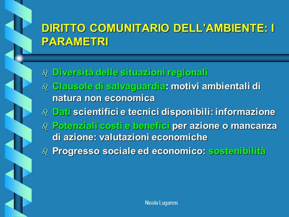 DIRITTO COMUNITARIO DELL'AMBIENTE: I PARAMETRI