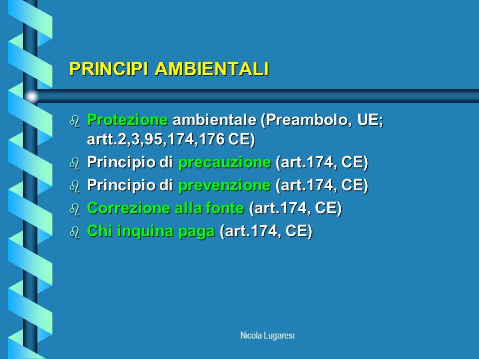 PRINCIPI AMBIENTALI Protezione ambientale (Preambolo, UE; artt.2,3,95,174,176 CE) Principio di precauzione (art.174, CE)