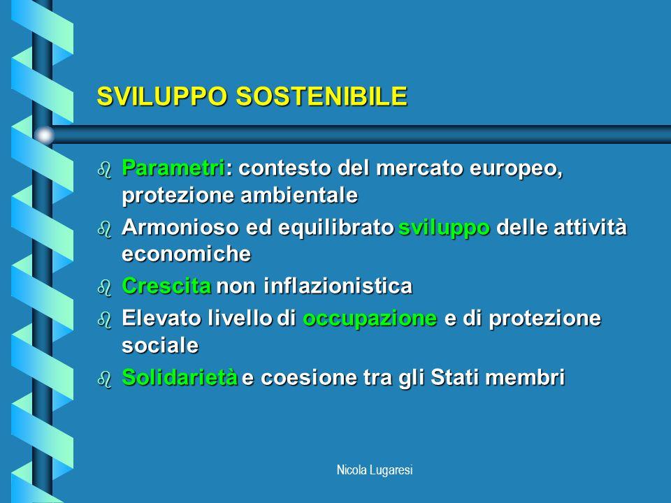 SVILUPPO SOSTENIBILE Parametri: contesto del mercato europeo, protezione ambientale. Armonioso ed equilibrato sviluppo delle attività economiche.