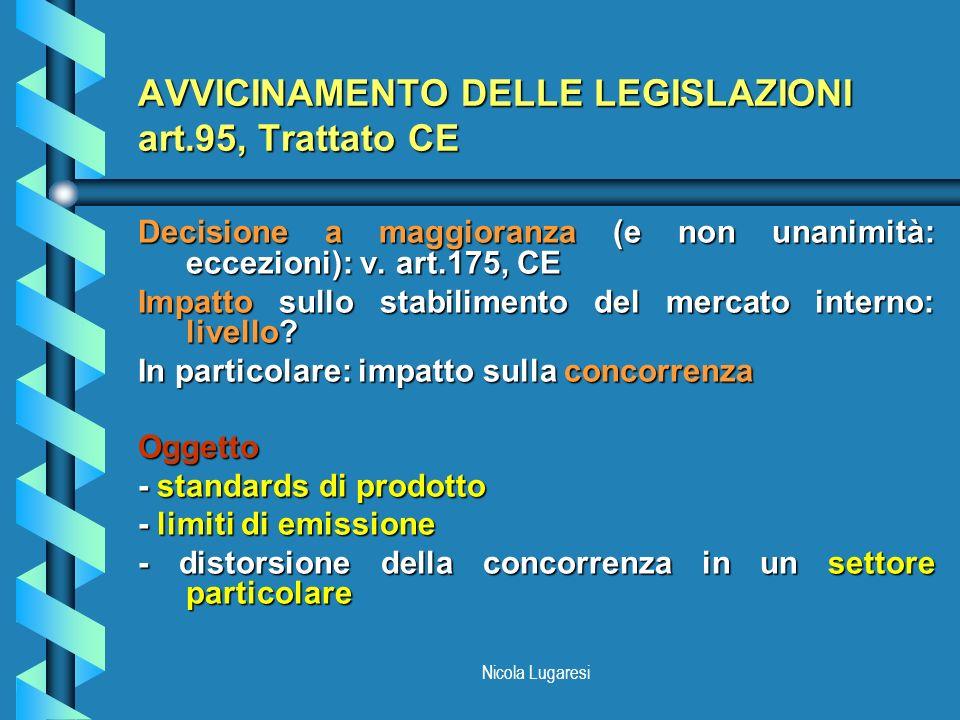 AVVICINAMENTO DELLE LEGISLAZIONI art.95, Trattato CE
