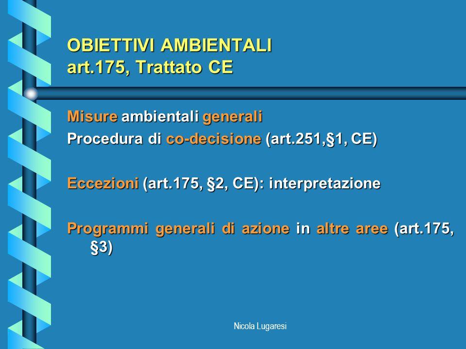 OBIETTIVI AMBIENTALI art.175, Trattato CE
