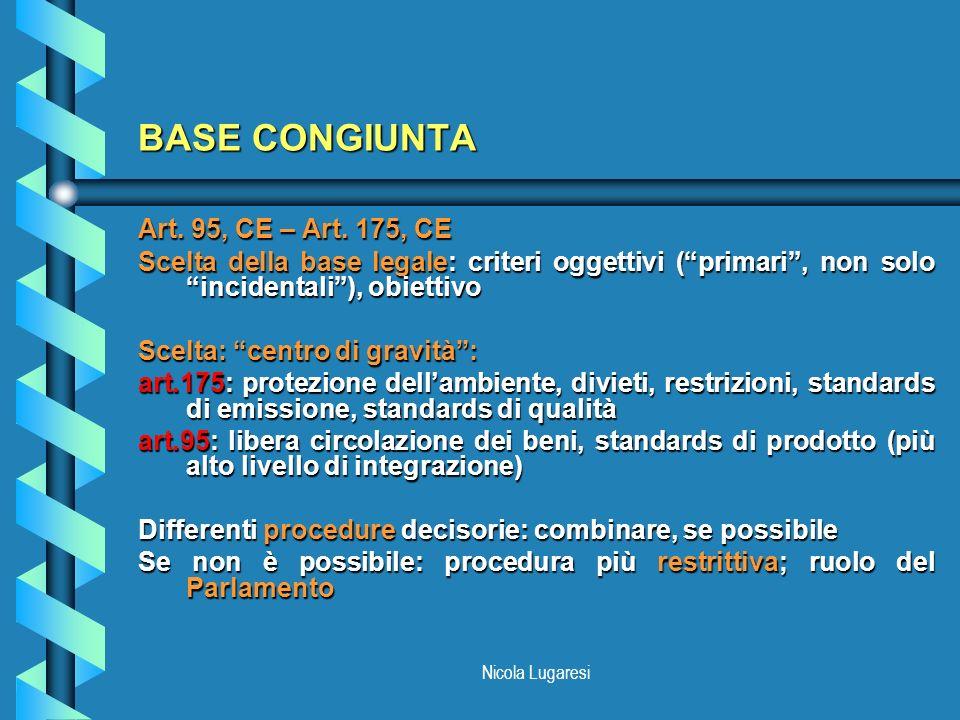 BASE CONGIUNTA Art. 95, CE – Art. 175, CE