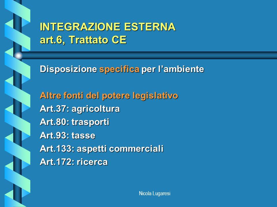 INTEGRAZIONE ESTERNA art.6, Trattato CE