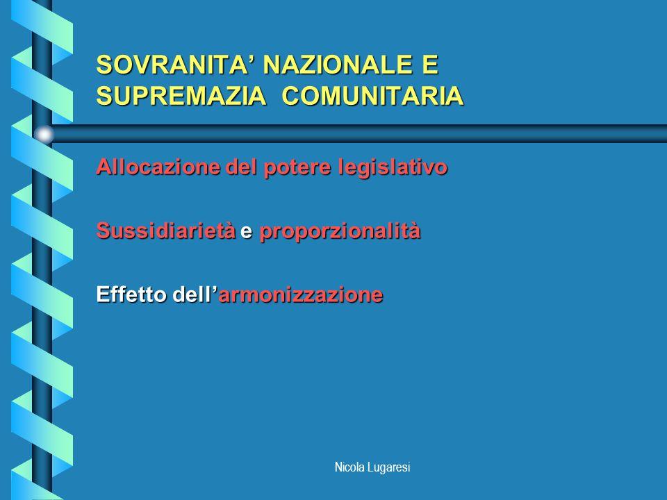 SOVRANITA' NAZIONALE E SUPREMAZIA COMUNITARIA