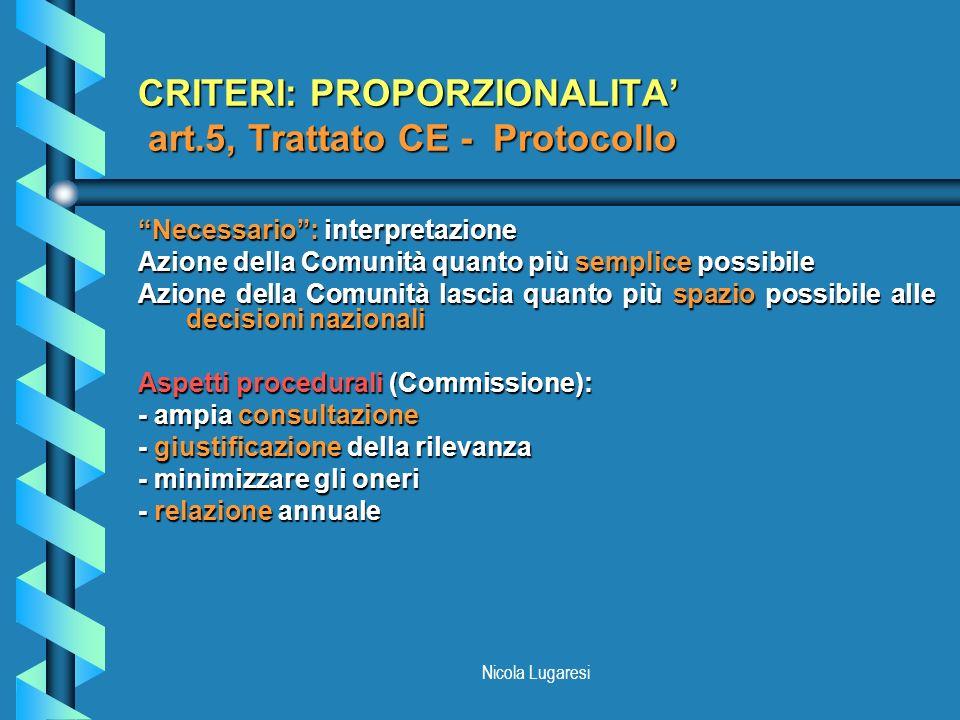 CRITERI: PROPORZIONALITA' art.5, Trattato CE - Protocollo