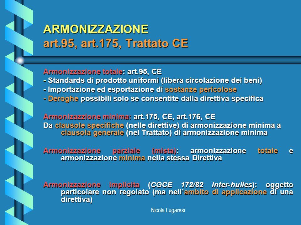 ARMONIZZAZIONE art.95, art.175, Trattato CE