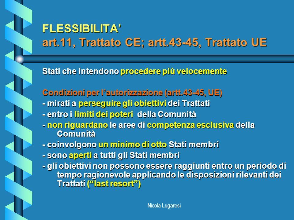 FLESSIBILITA' art.11, Trattato CE; artt.43-45, Trattato UE