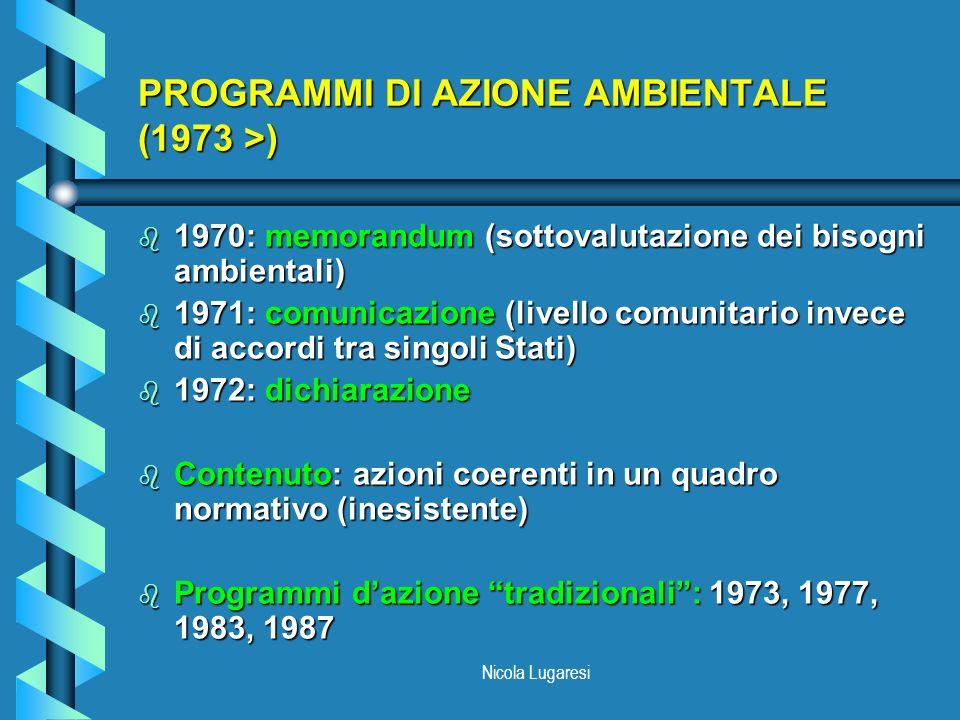 PROGRAMMI DI AZIONE AMBIENTALE (1973 >)