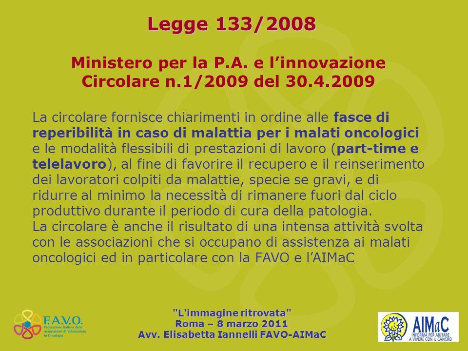 Legge 133/2008 Ministero per la P.A. e l'innovazione