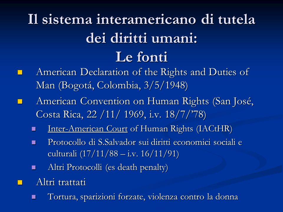 Il sistema interamericano di tutela dei diritti umani: Le fonti