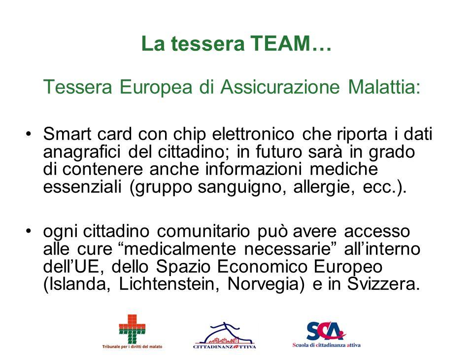 La tessera TEAM… Tessera Europea di Assicurazione Malattia: