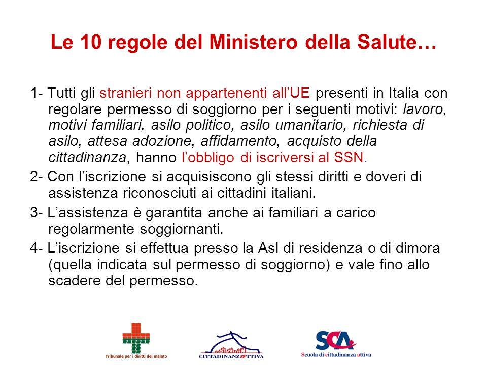 Le 10 regole del Ministero della Salute…