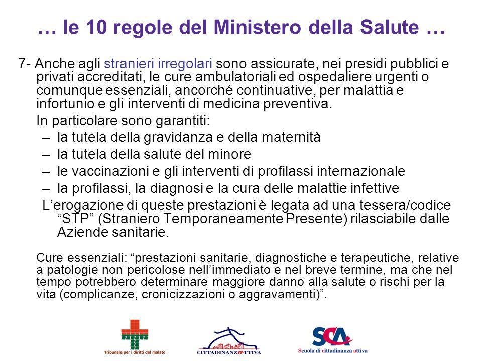 … le 10 regole del Ministero della Salute …