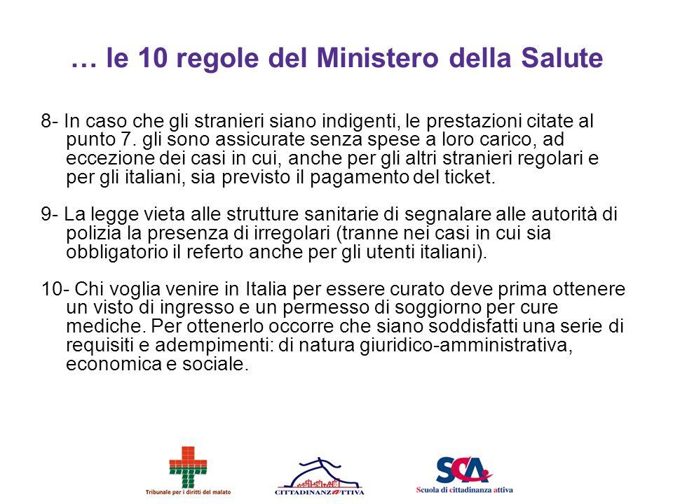 … le 10 regole del Ministero della Salute