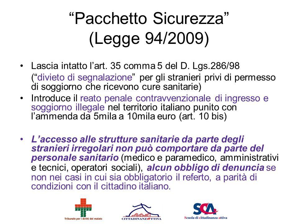Pacchetto Sicurezza (Legge 94/2009)