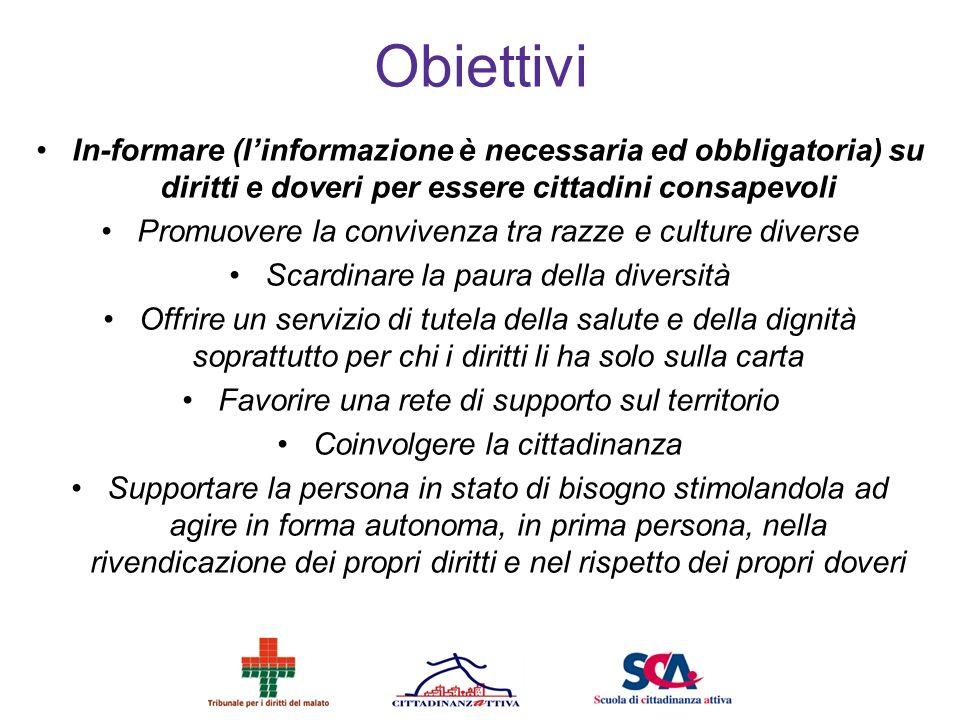 Obiettivi In-formare (l'informazione è necessaria ed obbligatoria) su diritti e doveri per essere cittadini consapevoli.