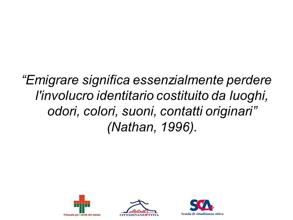 Emigrare significa essenzialmente perdere l involucro identitario costituito da luoghi, odori, colori, suoni, contatti originari (Nathan, 1996).