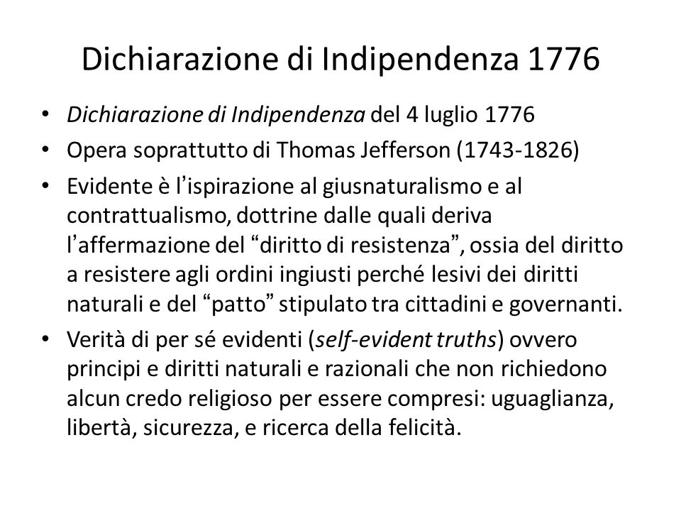 Dichiarazione di Indipendenza 1776