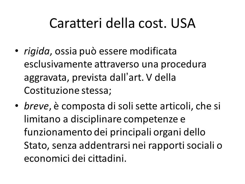 Caratteri della cost. USA