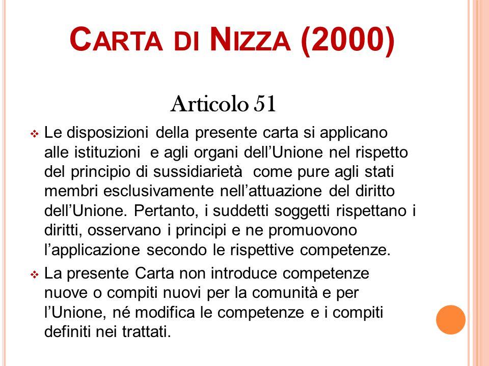 Carta di Nizza (2000) Articolo 51