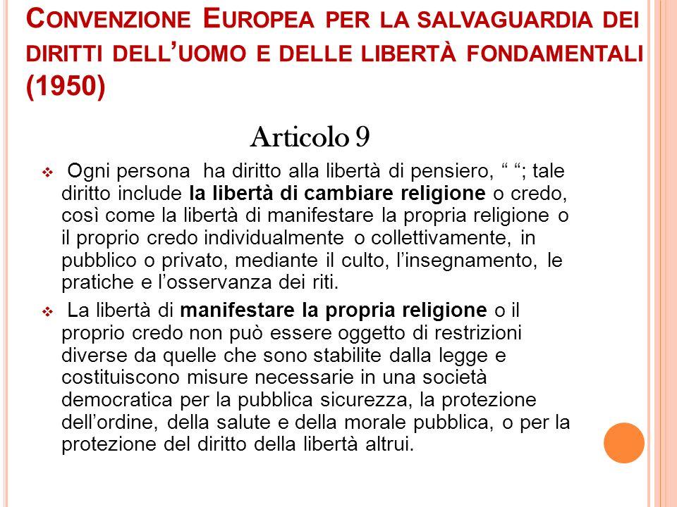 Convenzione Europea per la salvaguardia dei diritti dell'uomo e delle libertà fondamentali (1950)