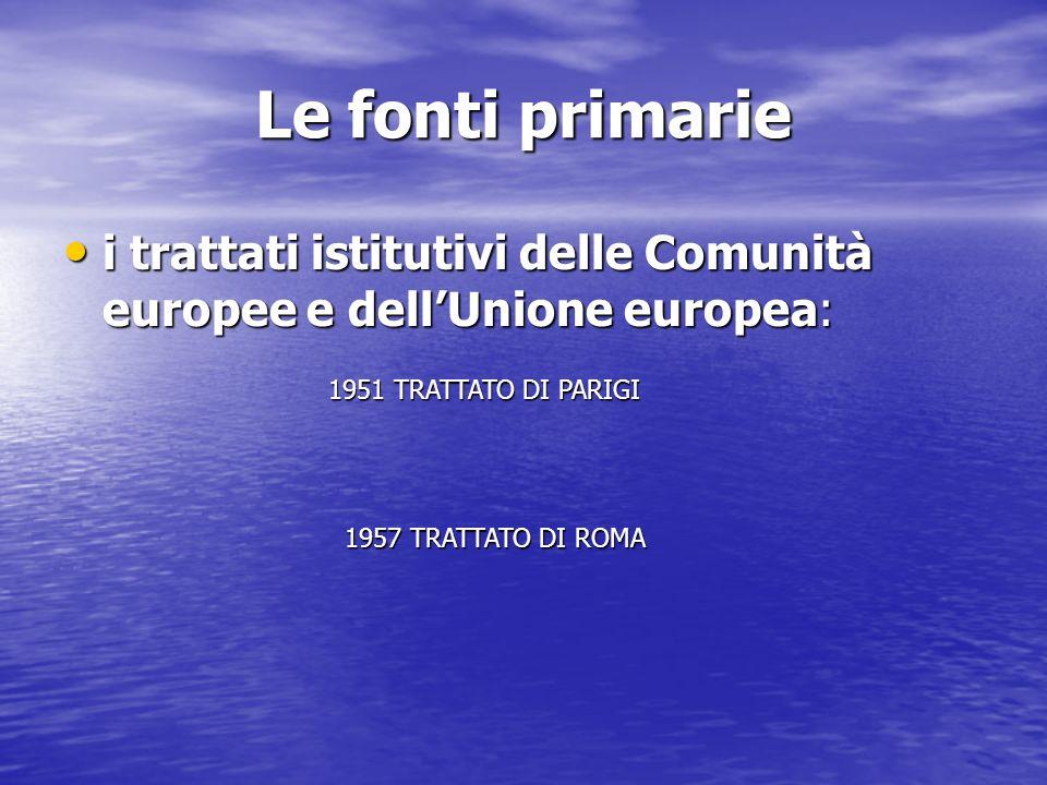 Le fonti primarie i trattati istitutivi delle Comunità europee e dell'Unione europea: 1951 TRATTATO DI PARIGI.