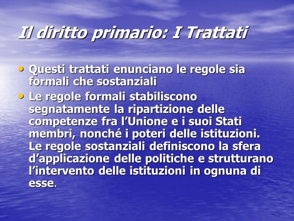 Il diritto primario: I Trattati