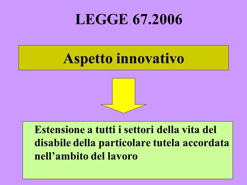 LEGGE 67.2006 Aspetto innovativo