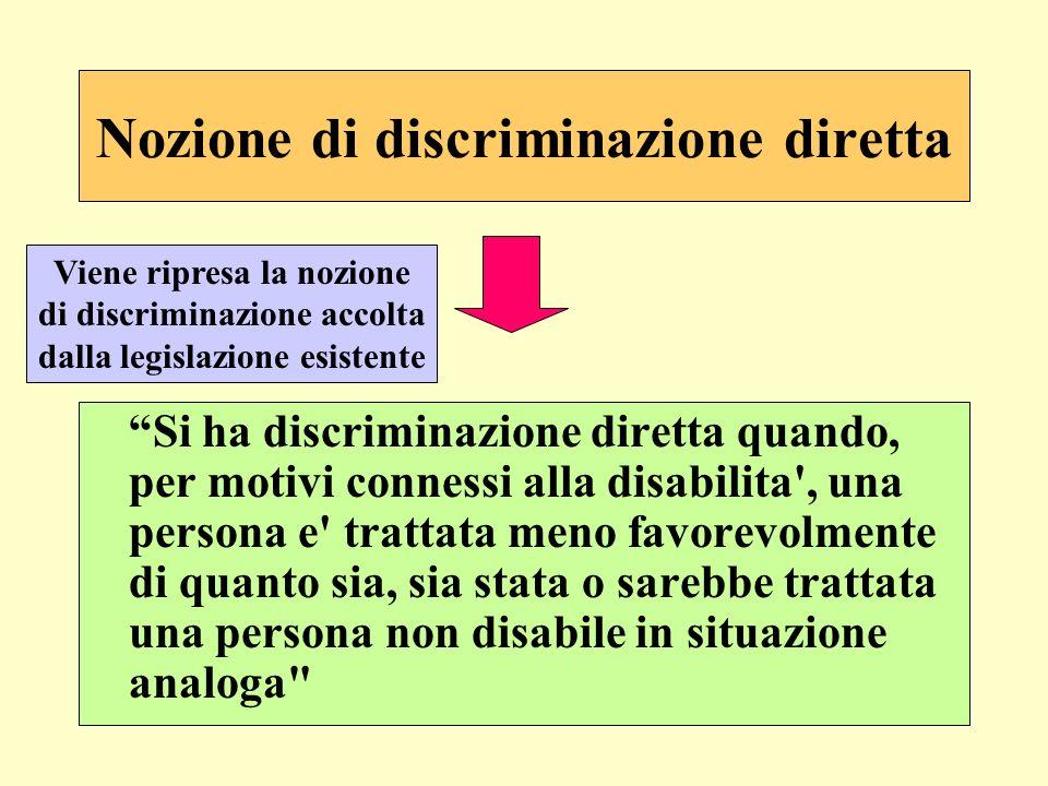 Nozione di discriminazione diretta