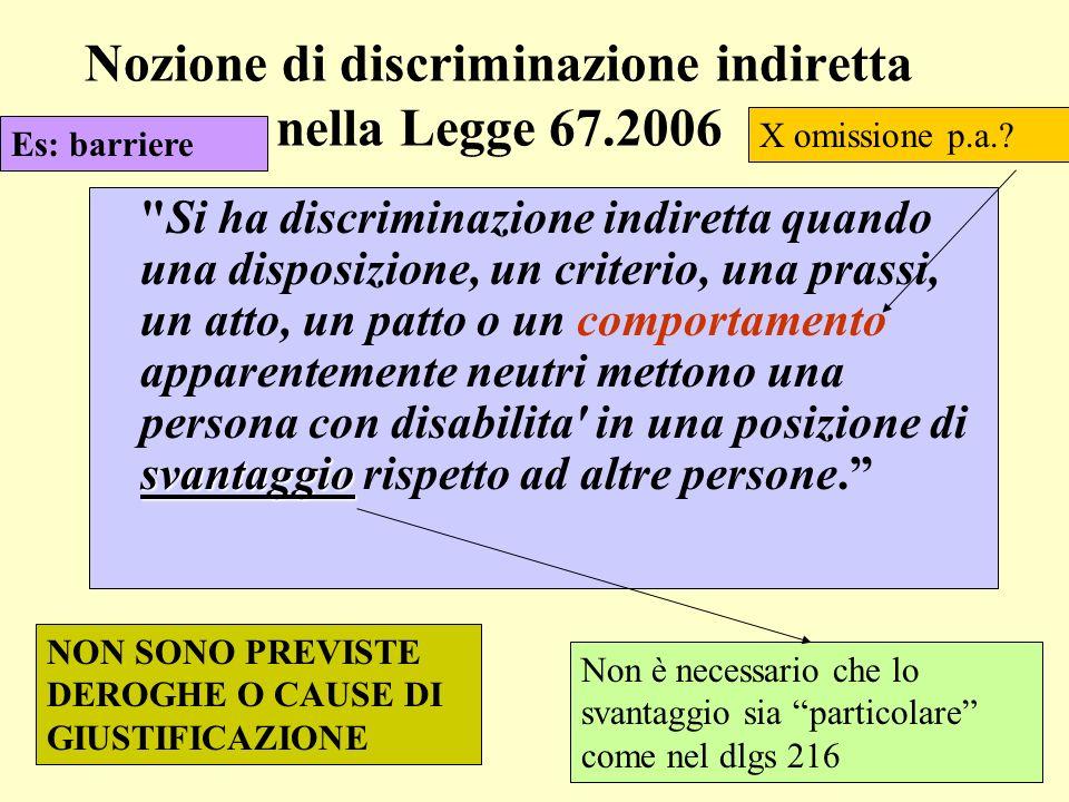 Nozione di discriminazione indiretta nella Legge 67.2006