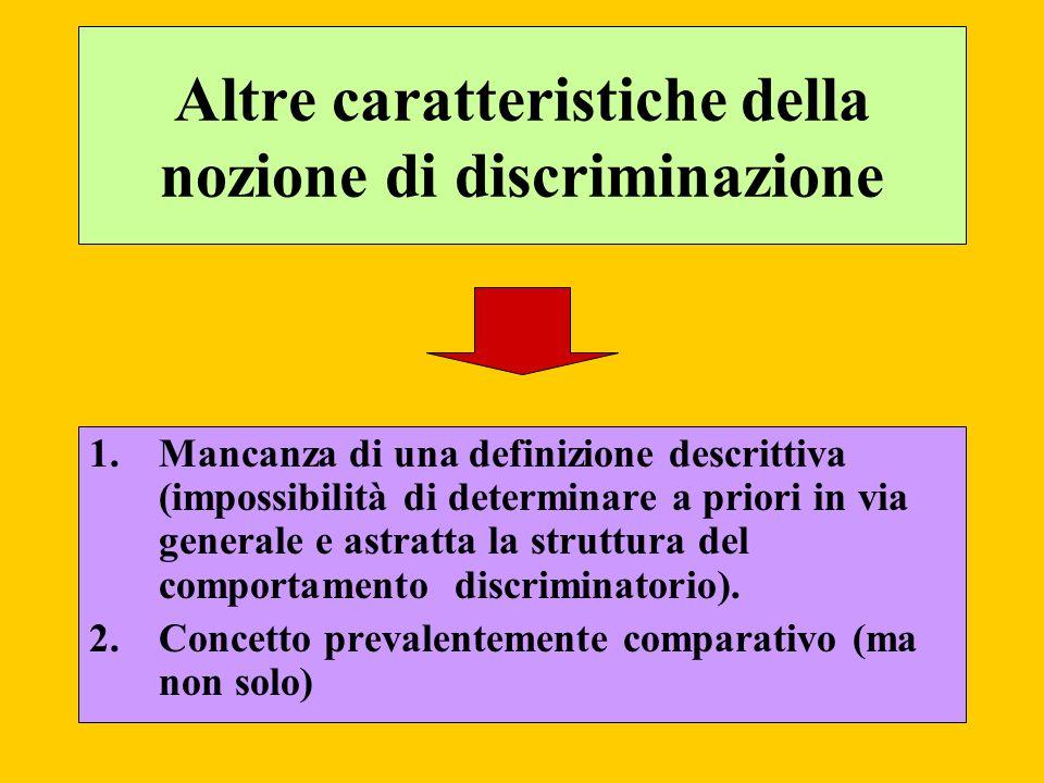 Altre caratteristiche della nozione di discriminazione