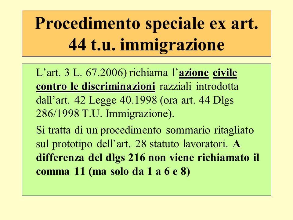 Procedimento speciale ex art. 44 t.u. immigrazione