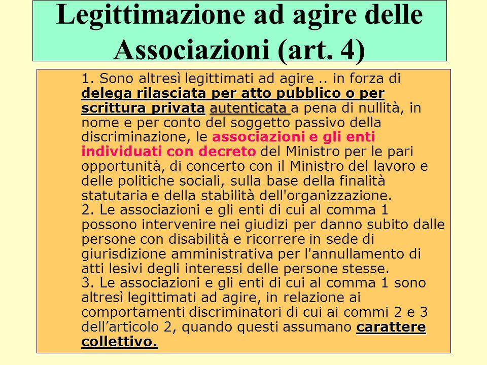 Legittimazione ad agire delle Associazioni (art. 4)