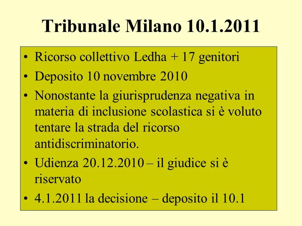 Tribunale Milano 10.1.2011 Ricorso collettivo Ledha + 17 genitori