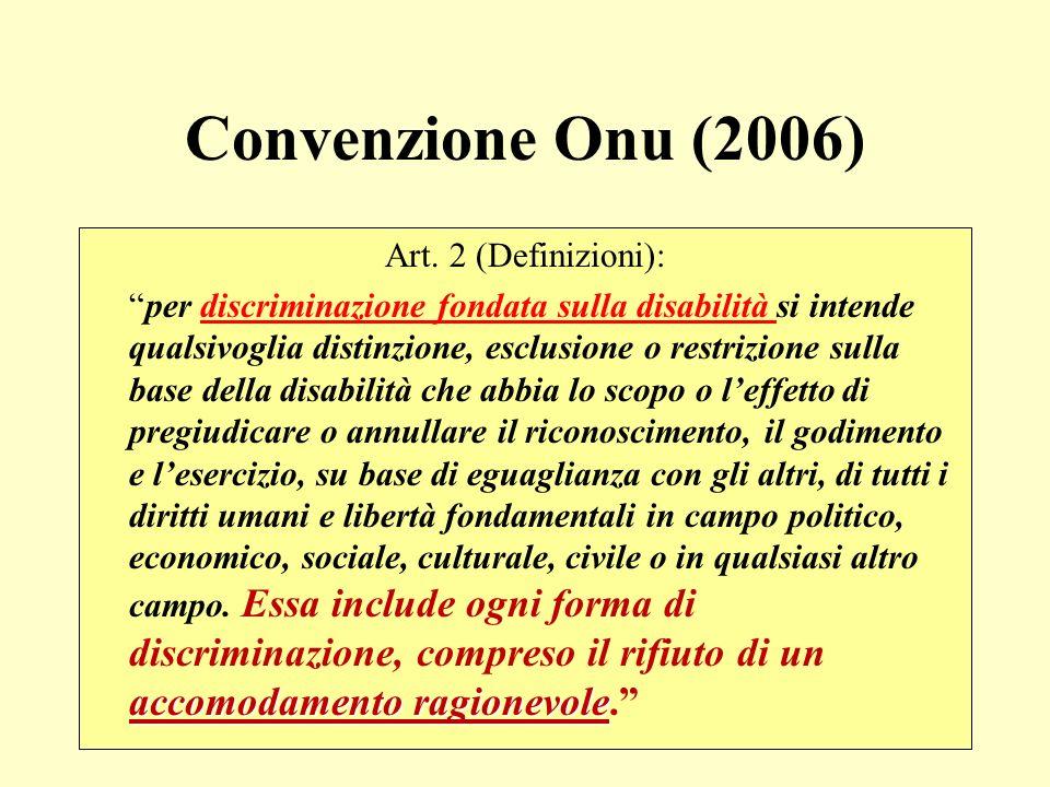 Convenzione Onu (2006) Art. 2 (Definizioni):