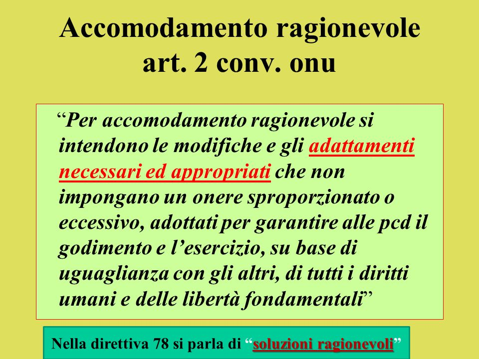 Accomodamento ragionevole art. 2 conv. onu