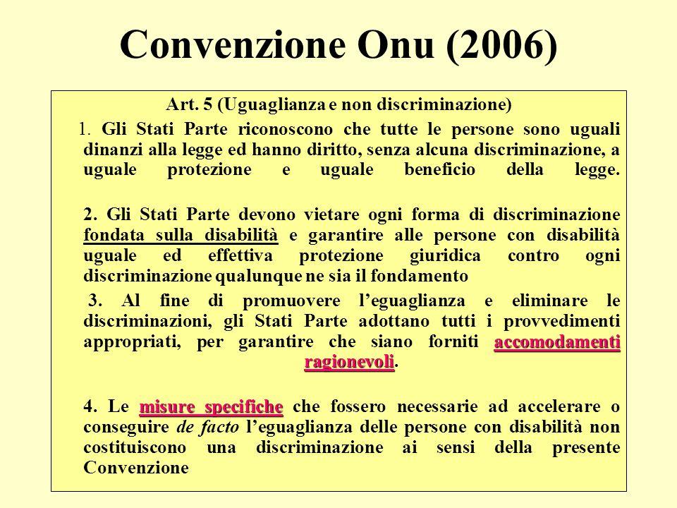 Art. 5 (Uguaglianza e non discriminazione)