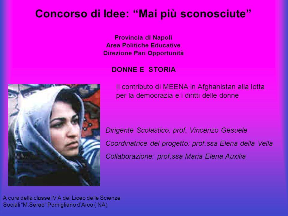 Concorso di Idee: Mai più sconosciute Provincia di Napoli Area Politiche Educative Direzione Pari Opportunità