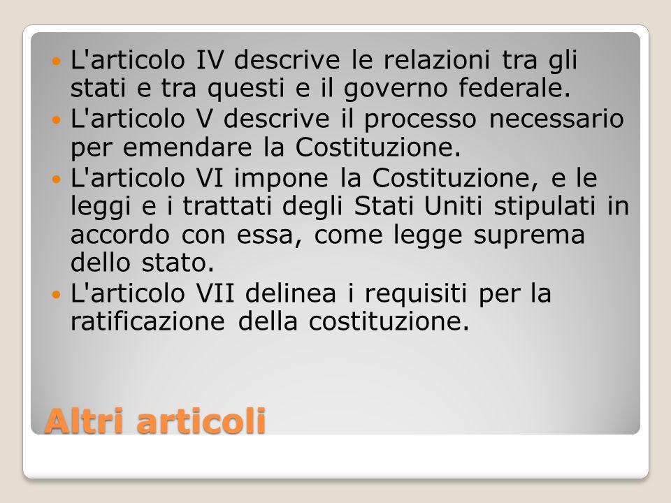 L articolo IV descrive le relazioni tra gli stati e tra questi e il governo federale.