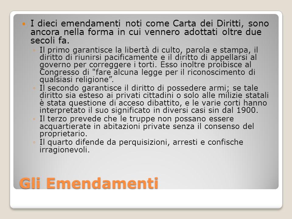 I dieci emendamenti noti come Carta dei Diritti, sono ancora nella forma in cui vennero adottati oltre due secoli fa.