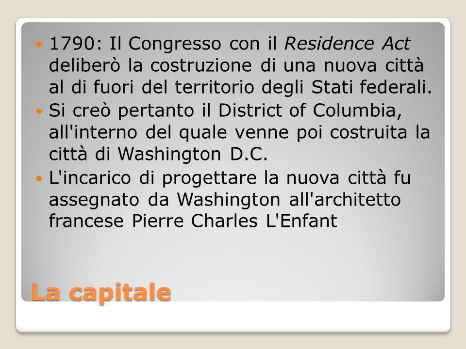 1790: Il Congresso con il Residence Act deliberò la costruzione di una nuova città al di fuori del territorio degli Stati federali.
