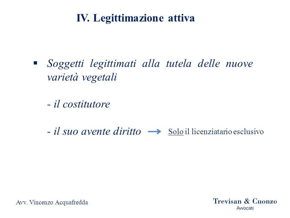IV. Legittimazione attiva